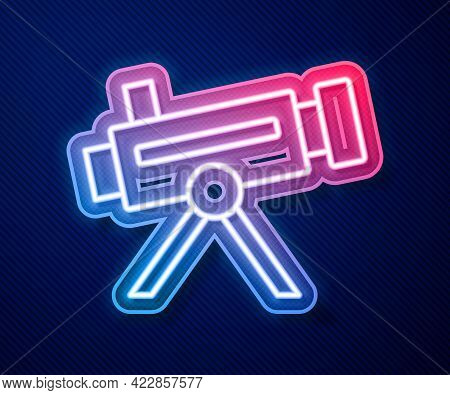 Glowing Neon Line Telescope Icon Isolated On Blue Background. Scientific Tool. Education And Astrono
