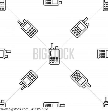 Grey Line Walkie Talkie Icon Isolated Seamless Pattern On White Background. Portable Radio Transmitt