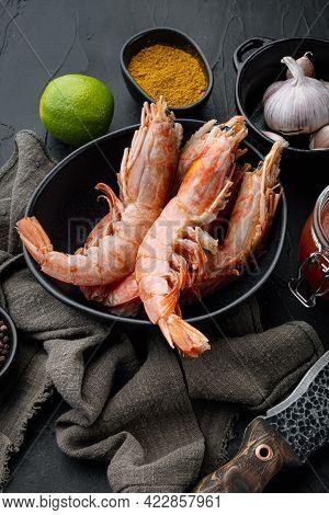 Raw King Prawns Or Shrimps Set  In Bowl, On Black Background