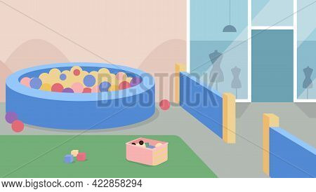 Playzone Flat Color Vector Illustration. Playroom For Children In Supermarket. Zone For Kids Near Sh