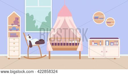 Child Bedroom For Newborn Flat Color Vector Illustration. Home Interior With Bed And Toy. Playroom F
