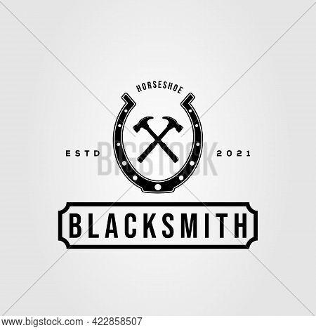 Horseshoe, Hammer And Blacksmith Logo Vector Illustration Design