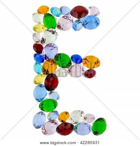 Letter E of gems