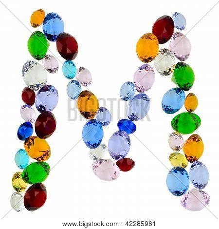 Letter M of gems