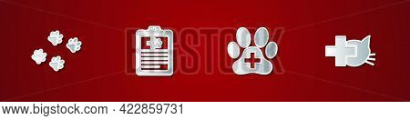 Set Paw Print, Clinical Record Pet, Veterinary Clinic And Icon. Vector