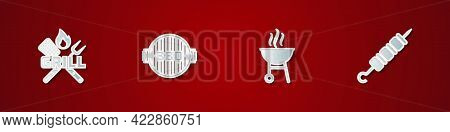 Set Crossed Fork And Spatula, Barbecue Grill, And Grilled Shish Kebab Icon. Vector