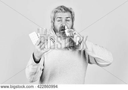 Medicines Effective Treatment. Pharmacy Concept. Lot Of Medicines. Man Sick Leave At Home. Bearded G