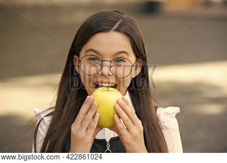 Food For Your Teeth. Little Child Bite Apple Outdoors. School Snack. Healthy Eating. Patient Educati