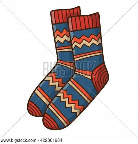A Pair Of Warm Patterned Socks. Autumn And Winter Clothing. Design Element With Outline. The Theme O