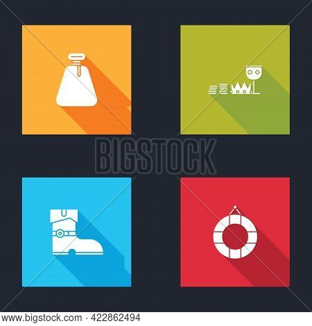 Set Pirate Sack, Treasure And Riches, Leather Pirate Boots And Lifebuoy Icon. Vector
