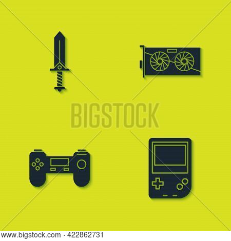 Set Sword For Game, Portable Video Console, Gamepad And Video Graphic Card Icon. Vector