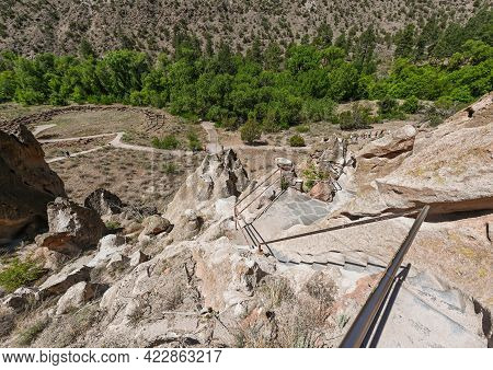 The Trail Main Loop At Bandelier Park In New Mexico, Usa The Trail Leads Thru The Ruins Of Ancient I