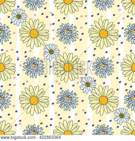 Vector Pastel Yellow Background Daisy Flowers, Wild Flowers And Butterflies, Insects. Seamless Patte