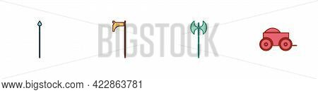 Set Medieval Spear, Axe, And Wooden Four-wheel Cart Icon. Vector