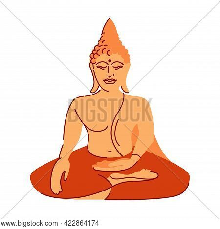 Buddha Sitting In The Lotus Position. Dharmic Religions, Buddhism, Hinduism. Vector Illustration.