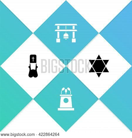 Set Priest, Stage Stand Or Tribune, Japan Gate And Star Of David Icon. Vector