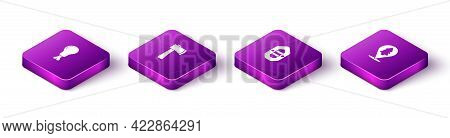Set Isometric Chicken Leg, Wooden Axe, Rafting Boat And Location Of The Forest Icon. Vector