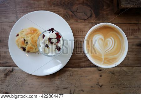 Hot Cofffee, Cappuccino Coffee And Scone , Scone With Whipped Cream For Serve