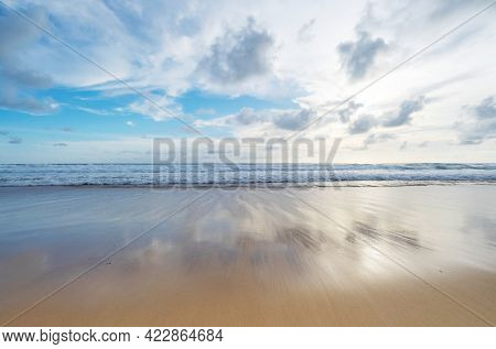 Summer Beach Sea Tropical Sandy Beach With Blue Ocean And Blue Sky Background Image For Nature Backg