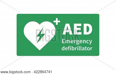 Aed Vector Icon. Emergency Defibrillator Sign. Automated External Defibrillator. Vector Illustration