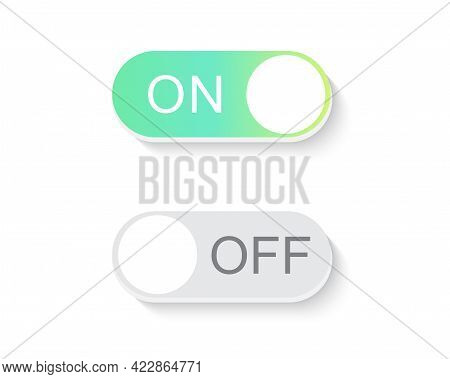 On And Off Toggle Switch Button. Design Element For Website And Mobile Apps. Vector Illustration.