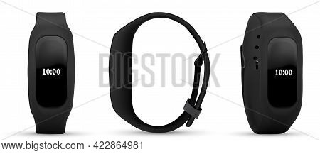 Fitness Bracelet Collection Of Smart Band. Realistic Set Of Bright Concepts On The Use Of Fitness Br