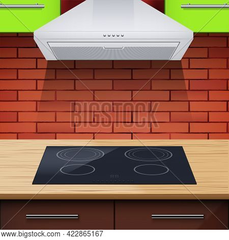 Modern Kitchen With Induction Hobs And Hood. Vector Illustration