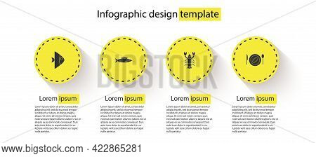 Set Fish, , Lobster And Served Cucumber On A Plate. Business Infographic Template. Vector