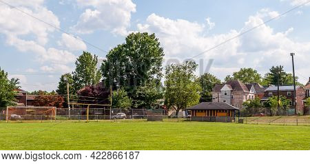 Swissvale, Pennsylvania, Usa June 5, 2021 A Football Field With A Concession Stand In The Corner On