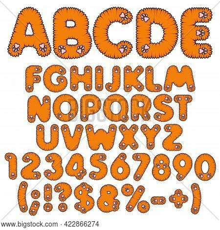 Fluffy Redhead Alphabet, Letters, Numbers And Signs With Pink Paws. Set Of Isolated Vector Objects O