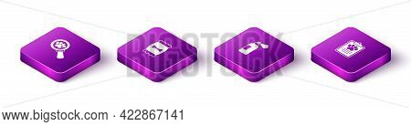 Set Isometric Veterinary Clinic, Bag Of Food For Pet, Pet Shampoo And Clinical Record Icon. Vector