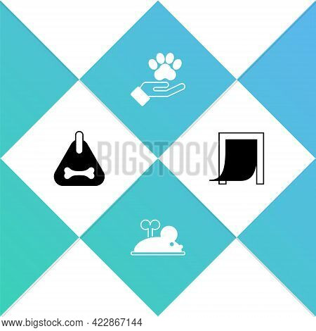Set Dog Collar, Clockwork Mouse, Hands With Animals Footprint And Door For Pet Icon. Vector