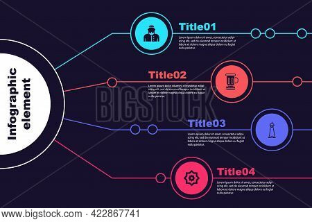 Set Muslim Man, Medieval Goblet, Mosque Tower Or Minaret And Octagonal Star. Business Infographic Te