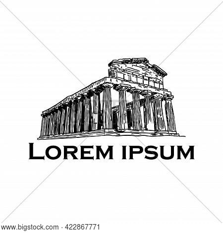 Hand-drawn Drawing Of The Famous Building Of Ancient Architecture In Athens Parthenon, Greece, Trace