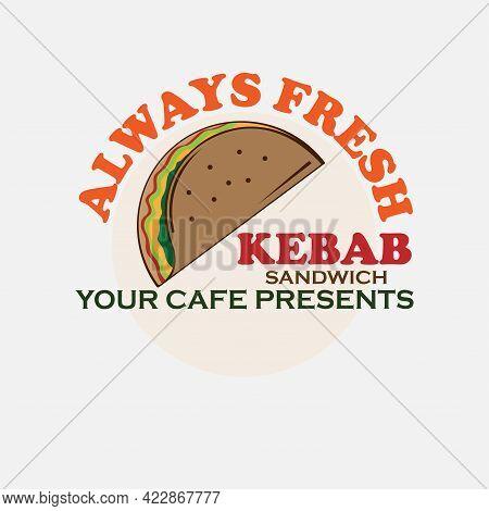 Sandwich Kebab Design Logo Vector. Sandwich Kebab Logo Restaurant