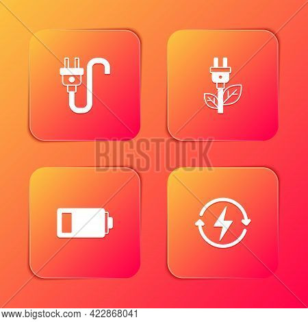 Set Electric Plug, Saving In Leaf, Battery And Recharging Icon. Vector
