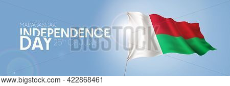 Madagascar Happy Independence Day Greeting Card, Banner With Template Text Vector Illustration