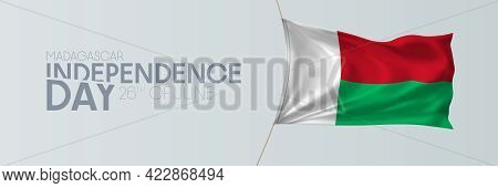 Madagascar Independence Day Vector Banner, Greeting Card
