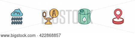 Set Cloud With Rain, Aircraft Steering Helm, Barrel Oil And Location Icon. Vector
