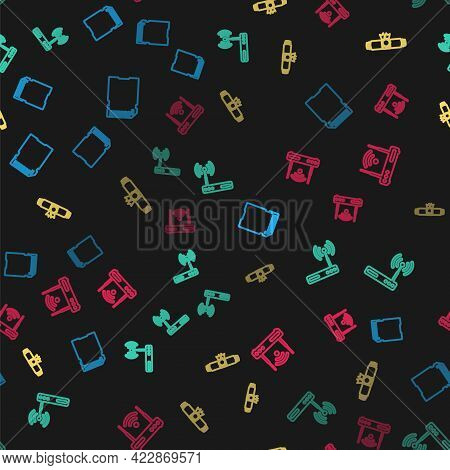 Set Line Sd Card, Router And Wi-fi, Diploma Rolled Scroll And On Seamless Pattern. Vector