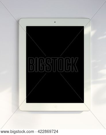 Paris - France - March 23, 2021 : Ipad Tablet Pc Blank Mockup Template, White Background