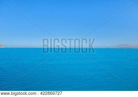 Panoramic View Onto Van Lake, Near Gevaş, Turkey. Bright Blue Colour Of Water Created By Soda Elemen
