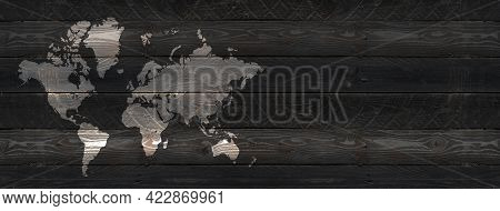 World Map Isolated On Black Wooden Wall Background. Horizontal Banner