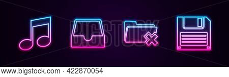 Set Line Music Note, Tone, Social Media Inbox, Delete Folder And Floppy Disk. Glowing Neon Icon. Vec