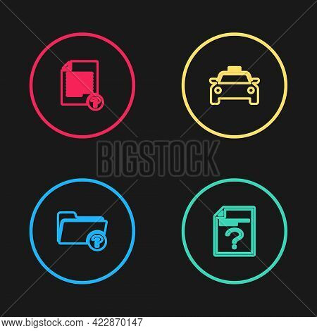 Set Line Unknown Directory, Document, Taxi Car And Icon. Vector