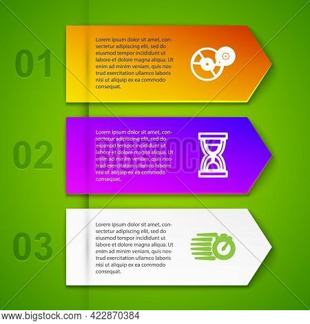 Set Line Cd Or Dvd Disk Setting, Old Hourglass With Sand, Stopwatch And Hourglass. Business Infograp