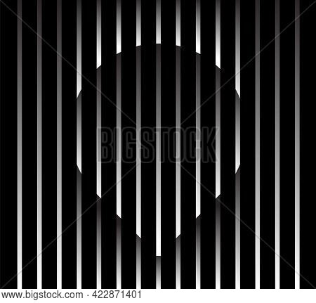 Abstract Unusual Pin Sign Logo On Geometric Black And White Gradient Stripes Background. Luxury Stri