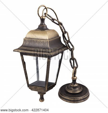 Hanging Bronze Lantern Isolated On White Background. Bronze-colored Street Lamp.