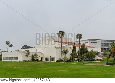 Santa Barbara, Ca, Usa - June 2, 2021: City College Facilities. Garvin Theatre Building With Palm Tr