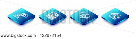 Set Isometric Line Man Dreaming About Buying House, House Contract, With Heart Shape And Key Icon. V